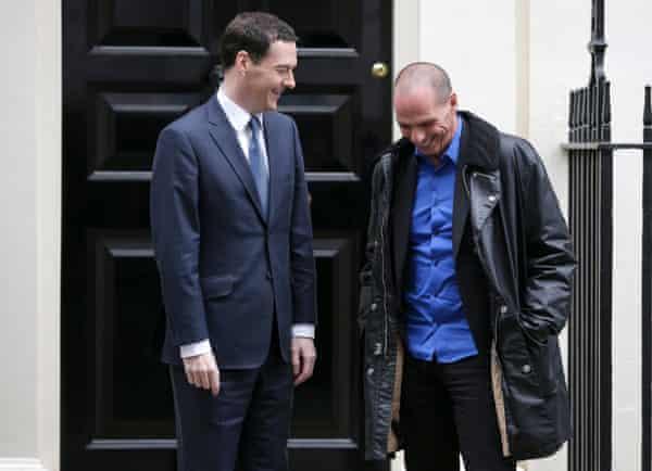 Greek Finance Minister Yanis Varoufakis with George Osborne
