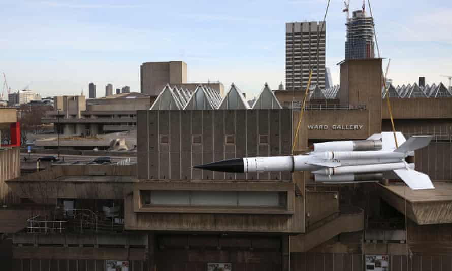 The cold War missile is lifted on to the terraces of the South Bank Centre.