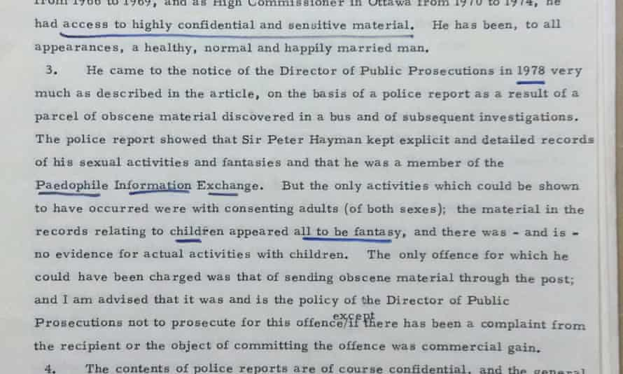 A page of the previously secret file confirms that Hayman was a member of the Paedophile Information Exchange
