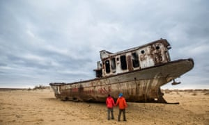 Grounded fishing ships were abandoned after the Aral Sea dried up.