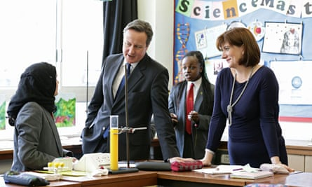 David Cameron and NIcky Morgan at Kingsmead school in Enfield