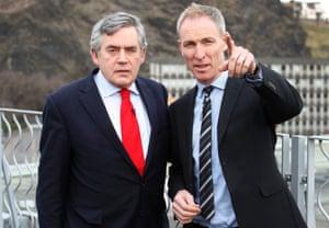 Scottish Labour leader Jim Murphy and former Prime Minister Gordon Brown in Edinburgh today