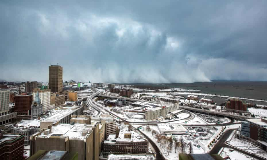 Storm clouds loom over Buffalo; last November's blizzard dumped a year's worth of snow on the city in three days.