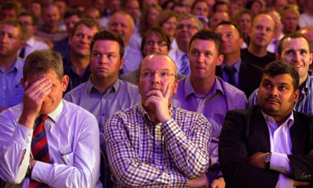 Police Federation members listen to a speech by Theresa May in 2011