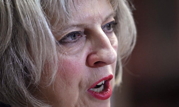 Britain's Home Secretary May delivers a speech in central London