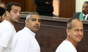 Peter Greste, Mohamed Fahmy and Baher Mohamed