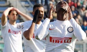 Inter's Isaac Donkor (right) and his team-mates show their dismay against Sassuolo.