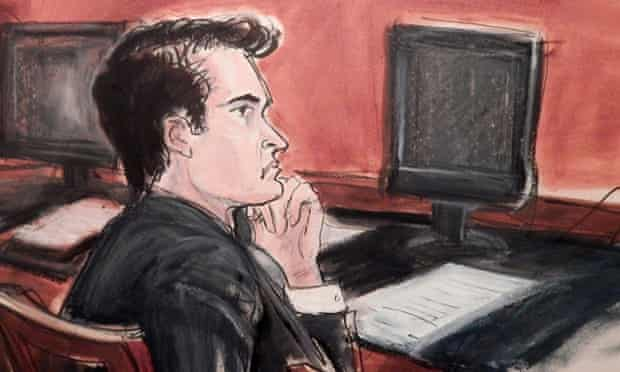 An artist's impression of Ross Ulbricht as he stood trial in New York.