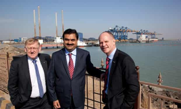 Gautum Adani with former Queensland Premier Campbell Newman, right, and Martin Ferguson during a 2012 trade visit to India.