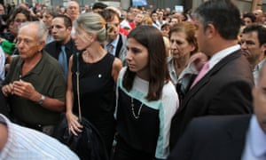 Alberto Nisman's mother, Sara Ganfurkel and former wife, Sandra Arroyo Salgado, with her their daughter Iara take part in the silent march.