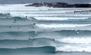 Gold Coast, Australia Surfers enjoy the swell courtesy of Tropical Cyclone Marcia at Snapper Rocks. Tropical cyclone Marcia made landfall near the city of Rockhampton on the north-east coast of Queensland state with gusts of up to 295 kph, media reports said on 20 February.