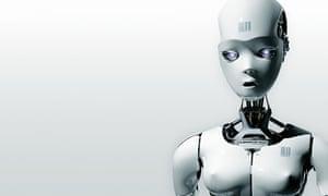 White conceptual futuristic female robot