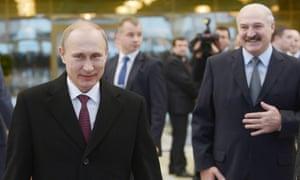 Russian President Vladimir Putin and Belarusian President Alexander Lukashenko seen after the Ukraine peace talks in Minsk on 12 February.