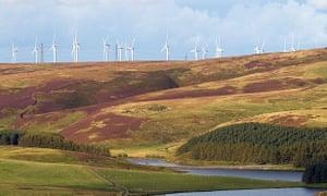 Wind turbines above Whiteadder reservoir, Lammermuir Hills, Scotland