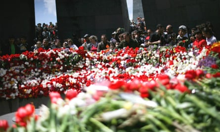 Flowers marking the anniversary of mass killings of Armenians in 1915. The 100th anniversary of the tragedy will be commemorated in April.