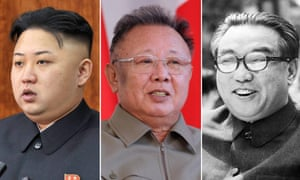 Left to right, Kim Jong-un in January; Kim Jong-il in 2011; and Kim Il-sung, 1976.