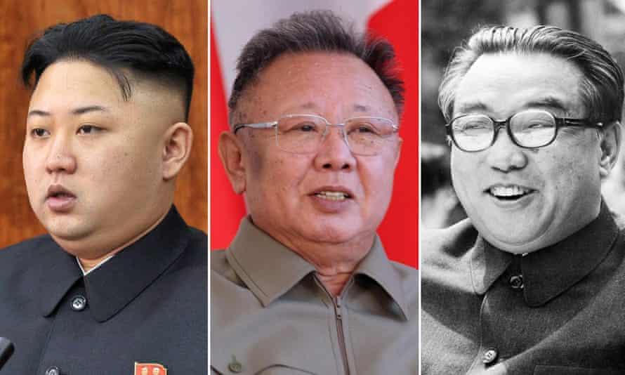 Left to right, Kim Jong-un in January; Kim Jong-il in 2011; and Kim Il-sung, 1976.