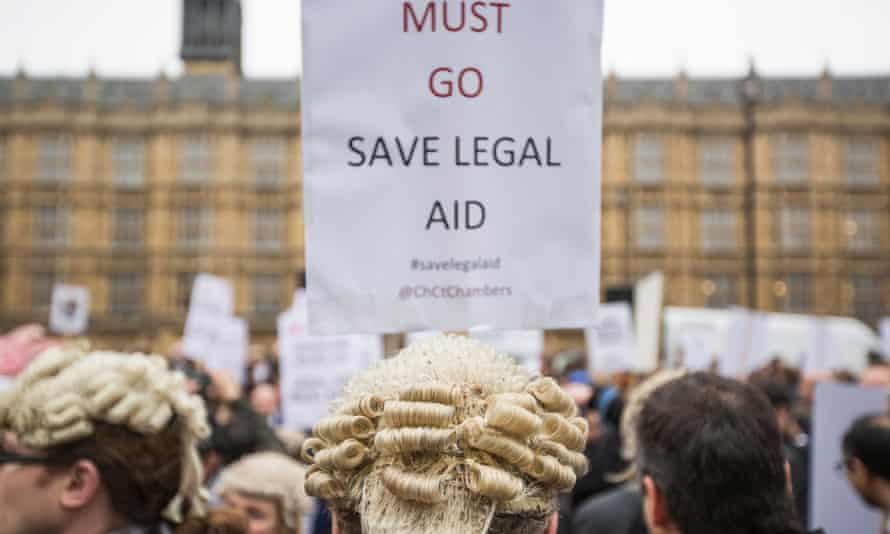 A protest against cuts to legal aid last year.