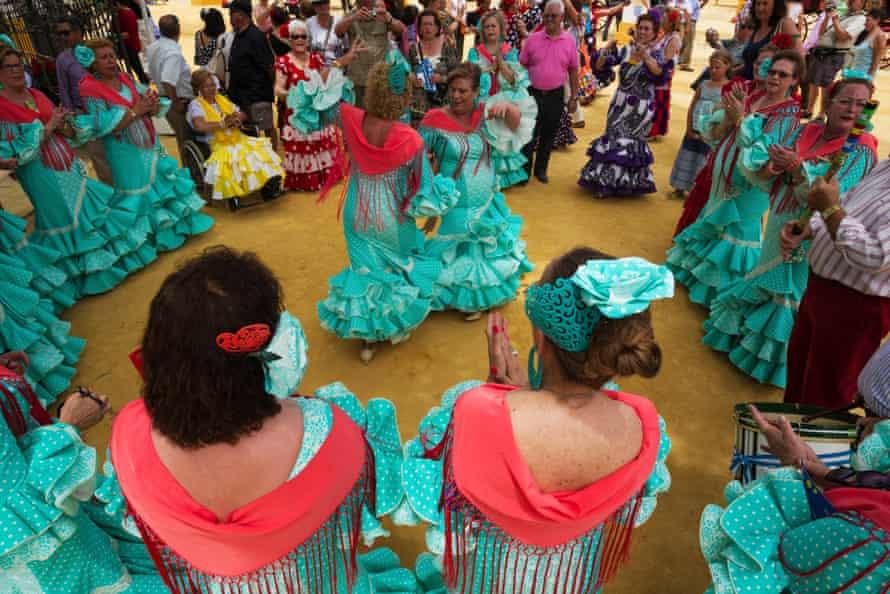 A traditional Andalucian dance at the Jerez de la Frontera flamenco festival.