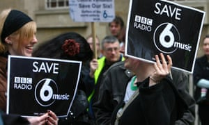 Protesters against the possible closure of BBC 6 Music at Broadcasting House in 2010.