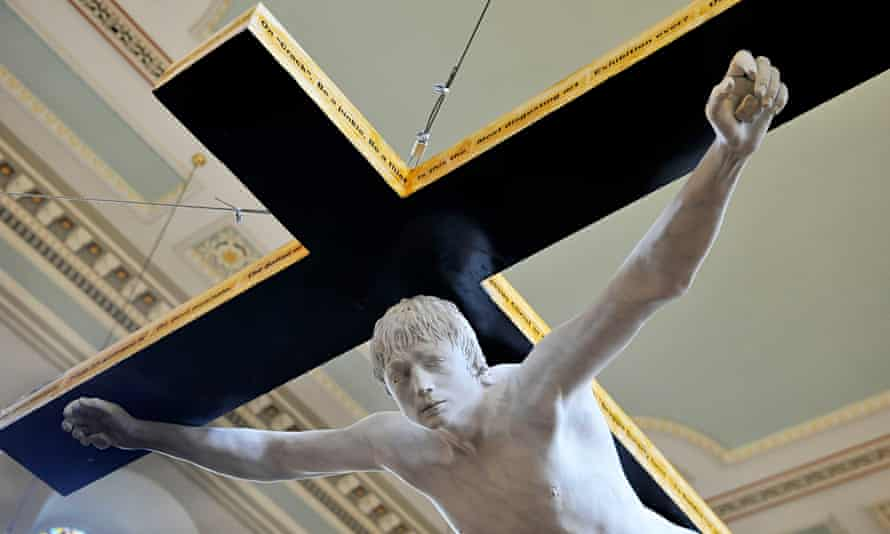 Crucifixion sculpture of Pete Doherty