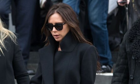 Victoria Beckham at the memorial service for Louise Wilson.