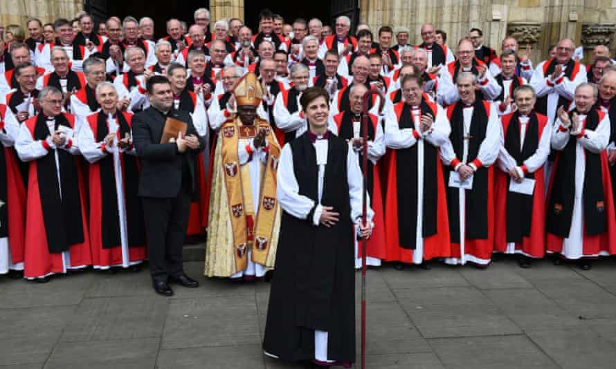 Rev Libby Lane, new consecrated bishop of Stockport, with the archbishop of York, Dr John Sentamu (front, wearing mitre) and the archbishop of Canterbury, Justin Welby (behind crozier) outside York Minster in January.