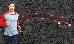 London running route along the Thames