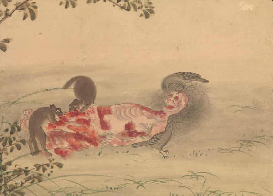 Kusozu: the death of a noble lady and the decay of her body, from aseries of nine 18th-century  watercolours