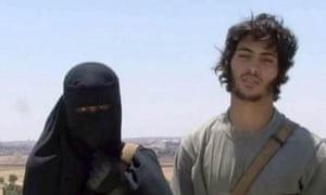 Khadijah Dare, a Londoner, with her husband, a Swedish Isis fighter who calls himself Abu Bakr.