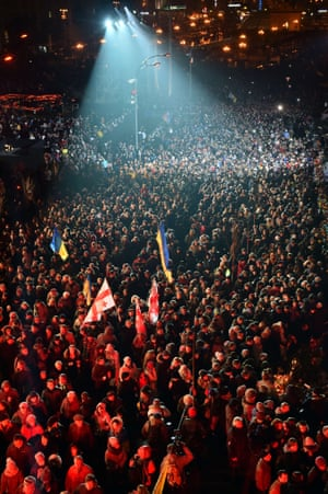 Kiev, Ukraine Thousands of people march during a memorial ceremony marking the first anniversary of the violent clashes in Kiev that left nearly 100 dead