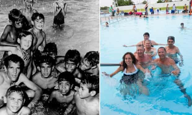Charles Perkins and local boys from Moree at the pool in 1965 alongside a new photo taken in 2015 of Perkins' daughter Rachel with some of the men.