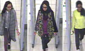 A CCTV image issued by the Metropolitan Police of (left to right) Kadiza Sultana,16, Shamima Begum,15 and an unnamed 15-year-old at Gatwick airport on Tuesday.