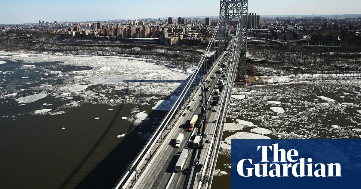 Hudson River is frozen as photos show New York in deep freeze - in