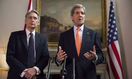 UK foreign secretary Philip Hammond, left, and US secretary of state John Kerry hold a press conference on Saturday.