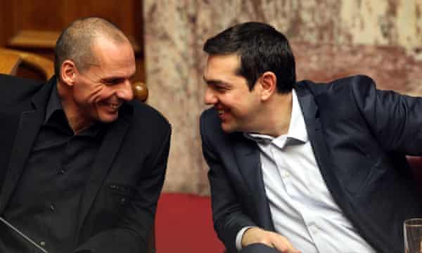 Finance minister Yanis Varoufakis, left, and Tsipras.
