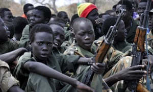 Boy soldiers on 10 February at a Unicef disarmament ceremony in Pibor, South Sudan.