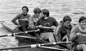 Dan Topolski, far left, on the Thames in 1989.