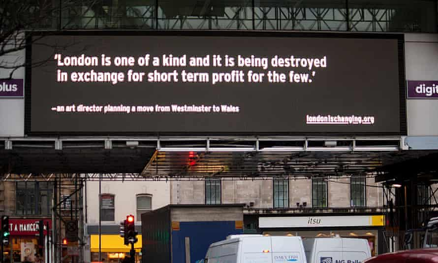 The London is Changing campaign appearing on a digital billboard in Holborn.
