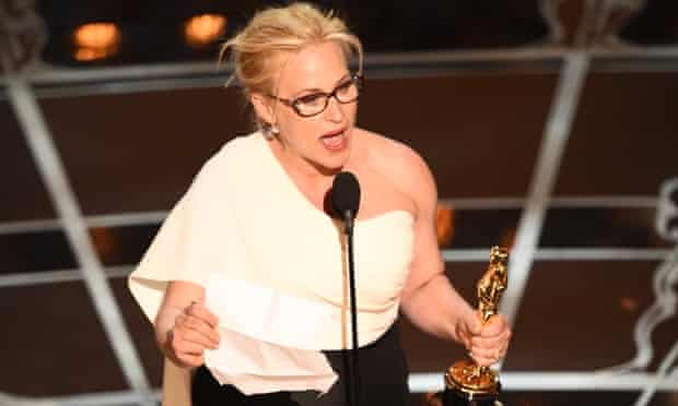 Patricia Arquette accepts her Oscar for best supporting actress.