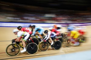 Laura Trott of Great Britain in action in the women's omnium elimination race