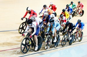 Laura Trott of the Great Britain Cycling Team leads and goes on to win the Women's Omnium Elimination race.
