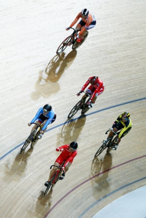 <strong>Day 6:</strong> Junhong Lin of China celebrates winning the women's keirin second-round race