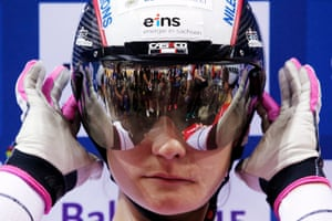 Kristina Vogel of Germany fixes her helmet prior to the women's sprint final.