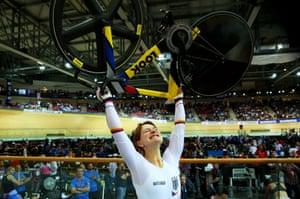 Kristina Vogel of Germany celebrates winning gold in the women's sprint final.