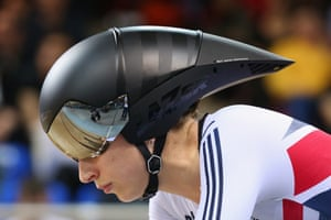 <strong>Day 4:</strong> Laura Trott of Great Britain prepares to start in the women's omnium individual pursuit.