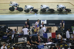 The German team compete during the Men's Team Pursuit qualifying race.