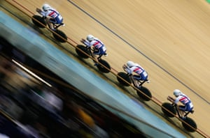 Ed Clancy, Steven Burke, Owain Doull and Andrew Tennant of Great Britain compete in the men's team pursuit qualifying.