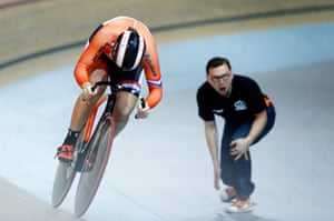 Shanne Braspennincx of the Netherlands competes in the women's team sprint qualifying.