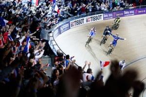 Franck Pervis of France celebrates winning the gold medal in the men's keirin race.